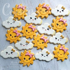 SunsClouds3 (cREEative_Cookies) Tags: baby shower babyshower cookies harry potter elephant chic birds mason jar lace delicate flower sports its boy girl blessed baptism crib teddy bear kokeshi dolls sunshine clouds happy flowers girly boyish sugar edible art theme custom royal icing baked adorable roses daisies fondant booties shoes onesies bibs personalized sugarveil