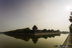 Forbidden City lake (Clear Of Conflict) Tags: china city travel sunset sky sun lake water reflections asia beijing forbidden viajar pekin