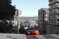 Playing with colors in B&W. (JerimiahRico) Tags: sanfrancisco california park blackandwhite car photoshop hiking noparking exploring hike hills parked fitness limited lafayettepark redcar 2hourparking