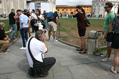 Holding the Tower (Brian Aslak) Tags: people italy europe italia posing tourists pisa tuscany toscana leaningtower torrependente piazzadeimiracoli