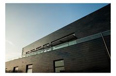 Boat House (muellerinnen-art) Tags: uk england house black reflection modern iso200 nikon arch shapes haus minimal adobe bluehour hastings fullframe fx shape minimalistic gebude glas lightroom immobilie d700 nikkor2485