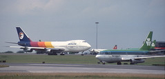 Dublin airport September 1990 (Longreach - Jonathan McDonnell) Tags: dublin scan boeing qantas 1990s 747 1990 aerlingus 737 dublinairport airpacific 737200 nikoncoolscanved scanfromaslide eidw vhebu 444029 737248 eiasl 01091990