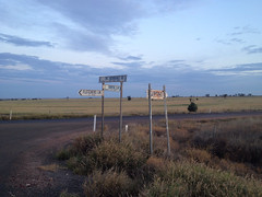 Signs to the sky (equineocean) Tags: rural directions queensland streetsigns outback intersection crops crossroad plains iphone romaqld