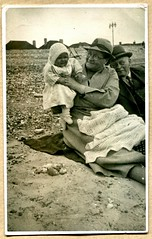 Hilary Holeman (1936) (The Wright Archive) Tags: uk baby beach 1936 vintage photo thirties 1930s britain great hilary hats photograph grandparents wright 30s prewar wrightarchive