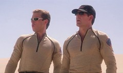 Captain Jonathan Archer and Commander Charles Trip Tucker III in desert uniforms (Guardian Screen Images) Tags: 2005 2001 trip fiction 3 shirt trek scott star three uniform crossing desert jonathan iii tan connor charles science captain scifi tight archer enterprise tucker 3rd spandex commander lycra bakula trinneer