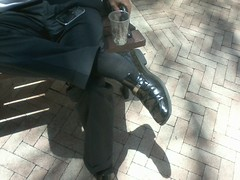 Kenneth Coles 4 (mansoles) Tags: public businessman toes professional friendly bigfeet kennethcole shoeoff dressshoe sockedfooted
