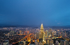 Petronas Twin Towers #2 (Justintimett) Tags: blue architecture buildings landscape lights cityscape colours angle vibrant sony petronas towers wide twin hour malaysia kuala sel ultra lumpur nightcape 1018mm a6000