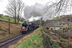Santa Standard (4486Merlin) Tags: england europe unitedkingdom transport steam northeast railways westyorkshire gbr oxenhope keighleyworthvalleyrailway santaspecials heritagerailways 75078 exbr brstd4mt460