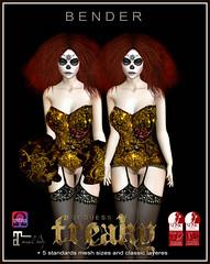 Freaky Goddess (B E N D E R & FasterPussycatFashion) Tags: originalmesh mesh corset lingerie fetishfashion bender honeybender secondlife secondlifestyle secondlifefashion burlesque carnivale nylons garters icons fashion couture courturemesh
