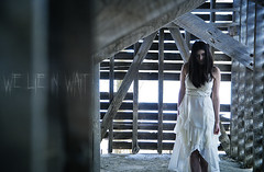 We Lie in Wait 1 (Mark_Dangerous) Tags: apparition photostory photoseries winter horror cold frozen woman model barn rural alone isolation scary ghost malevolent spirit unwelcome hostile evil spooky snow dress abandoned colorgrading