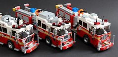 FDNY E-5 E-10 and E-55 (sponki25) Tags: new york fire engine firetruck fdny department seagrave kme lego fahrzeug nyc newyork truck ferrara ladder squad feuerwehr tentruck