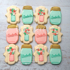 CountryMasonFlowers (cREEative_Cookies) Tags: baby shower babyshower cookies harry potter elephant chic birds mason jar lace delicate flower sports its boy girl blessed baptism crib teddy bear kokeshi dolls sunshine clouds happy flowers girly boyish sugar edible art theme custom royal icing baked adorable roses daisies fondant booties shoes onesies bibs personalized sugarveil