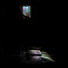 real.presences (jonathancastellino) Tags: series detroit square leica window glass stainedglass light mug illuminate cast shadow darkness abandoned derelict decay ruin ruins church mi usa desk pastor office paper papers scatter scattered colour color