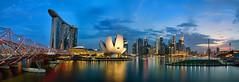 Marina Bay, Singapore (daveybaby) Tags: city bridge sunset marina river landscape bay singapore cityscape dusk sony cbd helix marinabaysands