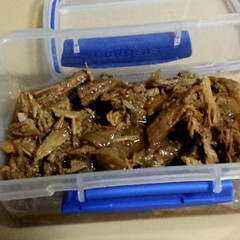 Leftover pulled pork. Deja food for a quick future meal.