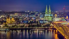 Cologne at twilight (www.ernst-christen.com) Tags: night cologne kln bluehour colognecathedral blauestunde hohenzollernbridge