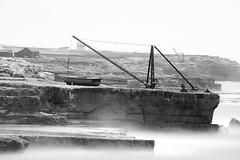 Portland Bill (Peter Meade) Tags: blackandwhite bw monochrome portland boat crane hoya hoist portlandbill petermeade longesposure canonef100400mmf4556lisusm pjmeade neutraldensityfilters canoneos5dmarkiii