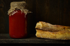 Food Photography | Tomato Sauce and Bread (Robert Greatrix) Tags: life copyright food toronto ontario texture home cooking kitchen horizontal fruit rural tomato studio bread photography photo italian photographer sauce eating country tomatoes spice rustic scene canadian shelf story slice baguette crop porn canned jar imaging produce simple canning foodie flavour foodland 2015 savour onatrio fulcrum inpsired strobist onnomnom sometimessavory