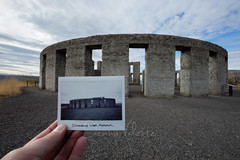 Stonehenge picture-in-picture (Dennis Valente) Tags: usa washington meta stonehenge metaphotography warmemorial pnw pictureinpicture instax maryhill 2015 instantfilm instaxwide 5dsr