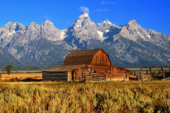 Barn with a View (cagleswanderlust) Tags: mountains nature barn nationalpark scenery landmark wyoming grandtetons moulton grandtetonnationalpark mormonrow moultonbarn johnmoultonbarn johnmoulton