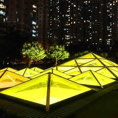 pyramids of light (Kai-Ming :-))) Tags: light building tree yellow night garden hongkong leaf mood pyramid sony skylight discoverypark draincover tsuenwan iso500 kaiming e6533 kmwhk