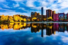 Esplanade Reflections at Golden Hour ((Jessica)) Tags: esplanade reflections goldenhour brownstones newengland sky a6000 water sonya6000 buildings massachusetts bluehour skyline lagoon boston clouds sony sonyalpha backbay