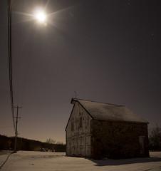 365-8 (• estatik •) Tags: 3658 365 8 january82017 jan 1817 sun sunday moon barn soda factory solebury pa pennsylvania buckscounty stone moonlight stars long exposure panorama quiet