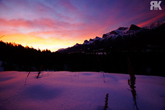 Sunrise over Ha Ling Peak (ryan.kole32) Tags: canmore canmorealberta alberta canada canadianrockies rockies rockymountains landscape nature beauty beautyinnature travel outdoors hiking harvieheights harvieheightsalberta sony sonya77 winter snow ice frozen peaceful calm tranquil perspective pov halingpeak threesisters blue red orange