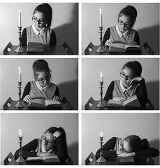 A la lueur d'une bougie (ophelie_photo1) Tags: nikond750 nikon noir noiretblanc bougie livre lecture narration histoire temps tempsquipasse fatigue progression
