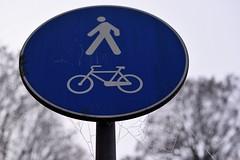Solo a piedi e in bici (STE) Tags: segnale stradale ragnatela ragnatele blu blue