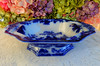 Antique J G Alcock Ironstone Dark Flow Blue Footed Serving Bowl ~ Scinde (Donna's Collectables) Tags: antique j g alcock ironstone dark flow blue footed serving bowl ~ scinde