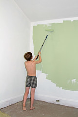 paintingback (babyfella2007) Tags: jason taylor painting house carson grant green room roller brush ladder child young boy helping beard face winnsboro sc south carolina southern children work working color