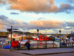 Easrly Evening, Padstow Harbour (photphobia) Tags: padstow cornwall town uk boat boats water harbour haven oldtown oldwivestale outdoor outside sky perspective reflection waterfront tug barge ship evening dusk earlyevening lamps lamplight streetlamps cloud skyline sea