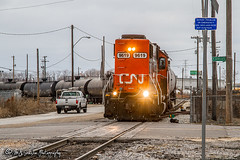 IC 9619   EMD GP38-2   CN Memphis Subdivision (M.J. Scanlon) Tags: rail railroad railway canadian national iliinois central engine locomotive track power horsepower red canada train transportation memphis tennessee mississippi work outdoor outdoors vehicle unit scanlon canon 7d gloomy cloudy