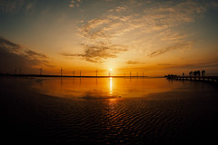 Dusk 日落時刻|高美濕地 Gaomei Wetland (里卡豆) Tags: olympus penf 8mmf18pro 8mmf18 fisheye 台中 taichung alexandrinus 高美濕地 gaomei wetland 日落 黃昏 dusk 夕陽 海邊 海灘 beach
