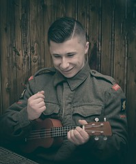 James on the ukulele (modulationmike) Tags: ww2 1940s ukulele soldier reinactment outfit uniform lightinfantry wood cafe tearooms nikon lighting theme fun