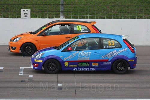 Simon Horrobin and Kevin Stirling in Fiesta Racing at Rockingham, Sept 2015