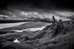 Storm over Storr (Grant Morris) Tags: blackandwhite bw skye monochrome clouds canon landscape scotland rocks isleofskye stormy needle hdr darkclouds blackdiamond rockstack 24105 oldmanofstorr storr abigfave grantmorris grantmorrisphotography