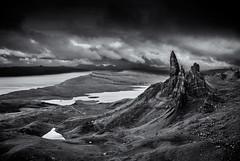 Storm over Storr (Grant Morris) Tags: blackandwhite bw skye monochrome clouds canon landscape scotland rocks isleofskye stormy needle hdr darkclouds blackdiamond rockstack 24105 oldmanofstorr storr abigfave grantmorris grantmorrisphotography