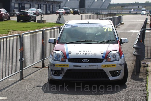 Carlito Miracco heads to the assembly area for Race 1, Fiesta Junior Championship, Rockingham, Sept 2015