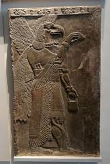 Stone relief sculpture of an Assyrian protective spirit (ca. 860 B.C.) (heffelumpen9) Tags: sculpture bucket cone relief britishmuseum assyria nimrud assyrianart apkallu wingedgenie wingedgenius wingedgenii bucketandcone