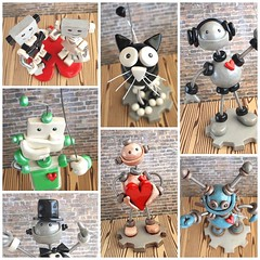 Created several robot sign holders for a wedding last Nov, each ooak and awesome (HerArtSheLoves) Tags: sculpture robot mixed wire artwork media handmade clay sculptures geekery coiled sculpting polymer herartsheloves theawesomerobotscom