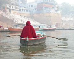 The Red Cloak on the Ganges - Varanasi, India, The Ghats