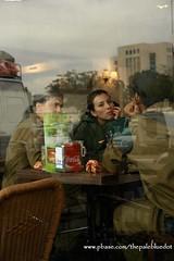 Israeli Soldiers in Café - Ber' Shiva, Israel