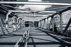 Hamburg Hafencity bridge (Janette Paltian) Tags: travel bridge blue architecture hamburg wideangle architektur monochrom blau 1018 brücke reise hafencity weitwinkel 650d ultraweitwinkel canon1018 blaufärbung janettepaltian