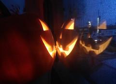 four face jack (Mr.  Mark) Tags: reflection halloween window face night pumpkin mirror photo scary jackolantern stock double spooky markboucher