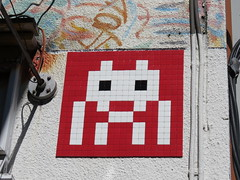 Space Invader TK_128 (tofz4u) Tags: red white streetart japan tile rouge tokyo mosaic spaceinvader spaceinvaders invader blanc japon mosaque artderue tk128