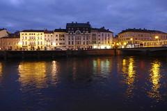 Epinal (denismartin) Tags: city nightphotography bridge light france water night sunrise river pont lightening lorraine vosges moselle epinal moselleriver denismartin mairiedepinal