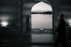 The Breathe (toletoletole (www.levold.de/photosphere)) Tags: street bridge bw man river evening abend iran sw mann brücke fluss esfahan isfahan mundschutz protectivemask xt1 zayandehrud fujixt1