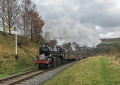 Santa Baby (4486Merlin) Tags: england europe unitedkingdom transport steam signals northeast railways westyorkshire gbr oakworth keighleyworthvalleyrailway santaspecials heritagerailways 75078 exbr brstd4mt460